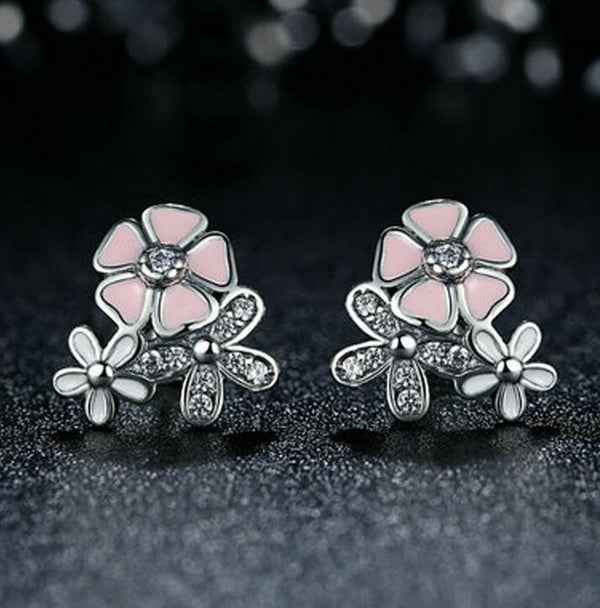 Pink Flower Earrings DromedarShop.com Online Boutique