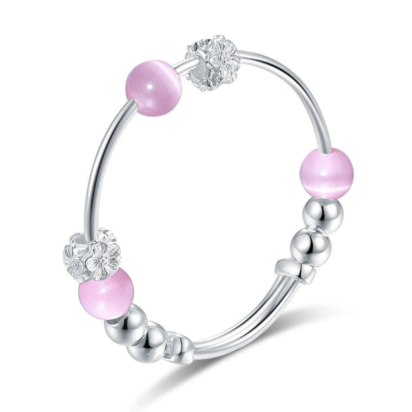 Newborn 999 Silver Baby Pink Cat Eye Stone Bangle XFB8071 - DromedarShop.com Online Boutique