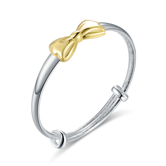 Newborn Baby 999 Silver Baby Bangle Gold Plated Ribbon Jewelry DromedarShop.com Online Boutique