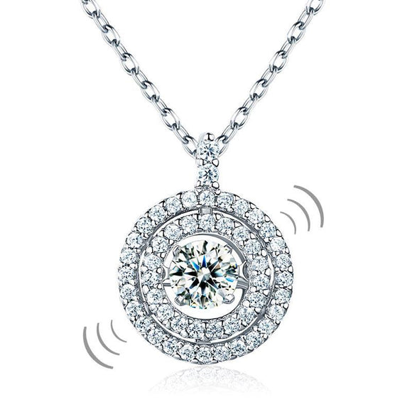 Dancing Stone Halo Pendant Necklace Solid 925 Sterling Silver Premium Jewelry