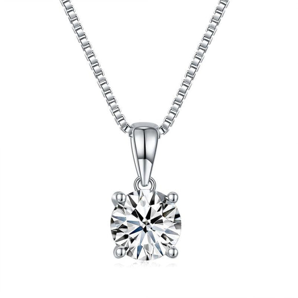 1 Carat Moissanite Diamond Pendant 925 Sterling Silver Necklace - DromedarShop.com Online Boutique