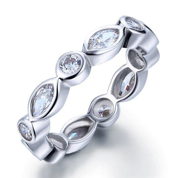 Marquise Solid 925 Sterling Silver Ring Eternity Band Wedding Jewelry - DromedarShop.com Online Boutique