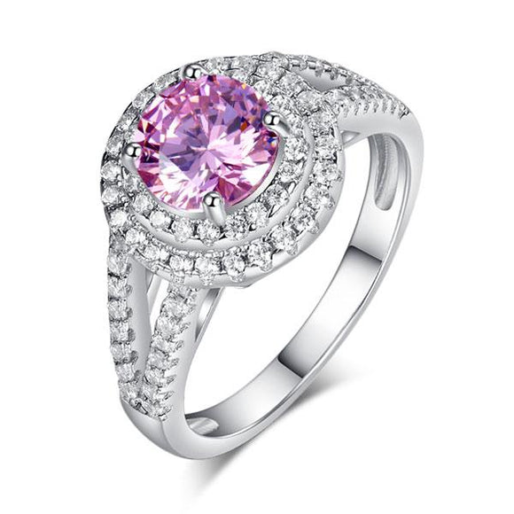 Double Halo 925 Sterling Silver Wedding Engagement Ring 1.25 Ct Fancy Pink Created Diamond Promise Anniversary XFR8252 - DromedarShop.com Online Boutique