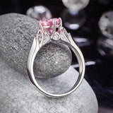 Flower 925 Sterling Silver Wedding Promise Anniversary Ring 1.25 Ct Fancy Pink Created Diamond Jewelry XFR8258 - DromedarShop.com Online Boutique