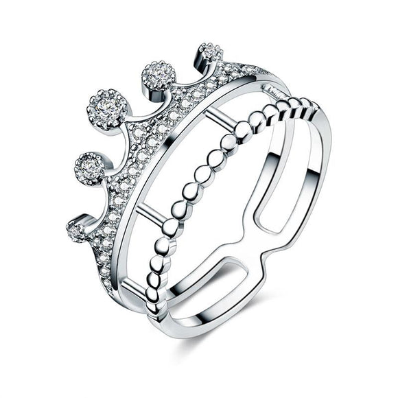 Solid 925 Sterling Silver Ring Crown Shape Created Diamond Jewelry - DromedarShop.com Online Boutique