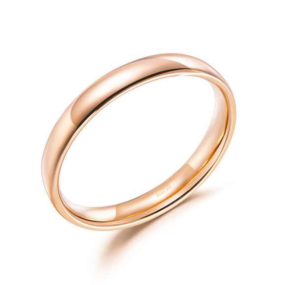 Solid 18K/750 Rose Gold Plain Ring Band DromedarShop.com Online Boutique