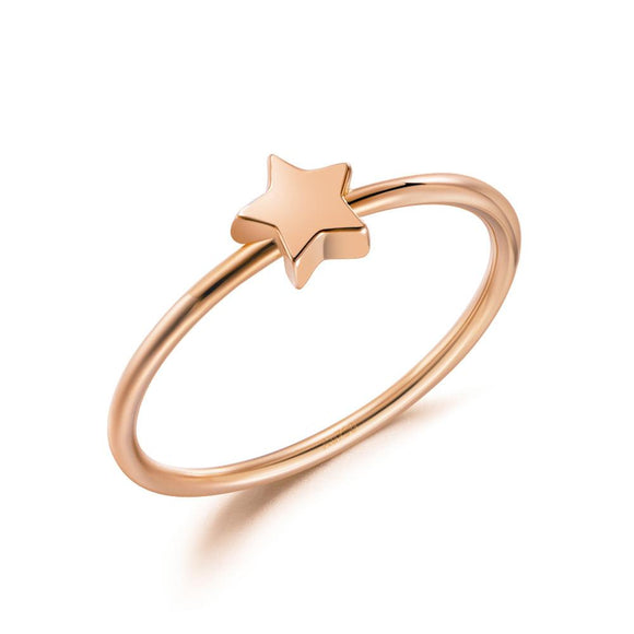 Solid 18K/750 Rose Gold Star Ring DromedarShop.com Online Boutique
