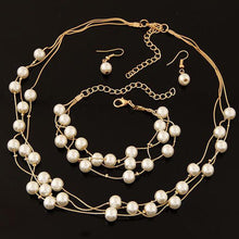 Imitation Pearl Jewelry Simulated Pearl Double Layer Earrings Necklace Bracelet Sets