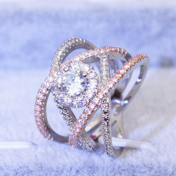 Luxury Cross Infinity Silver Rose Gold Plated Wedding Ring for Women - DromedarShop.com Online Boutique