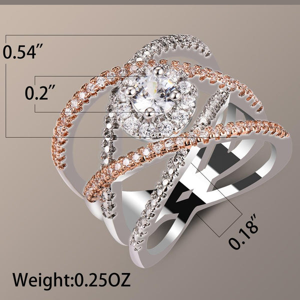 Luxury Cross Infinity Silver Rose Gold Plated Wedding Ring for Women DromedarShop.com Online Boutique