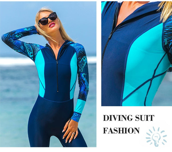 Sbart Long Sleeve Hooded  Surfing  Diving Quick Dry Swimsuit DromedarShop.com Online Boutique