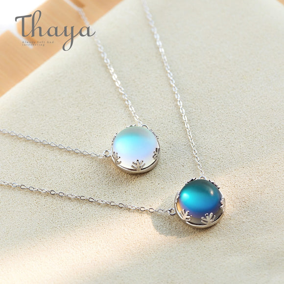Aurora Pendant Necklace Halo Crystal Gemstone S925 Silver