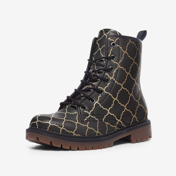 Black & Gold East Pattern Casual Leather Lightweight Unisex Boots DromedarShop.com Online Boutique