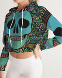 Aztec-Inka Collection Mexican Colorful Skull Women's Cropped Hoodie DromedarShop.com Online Boutique