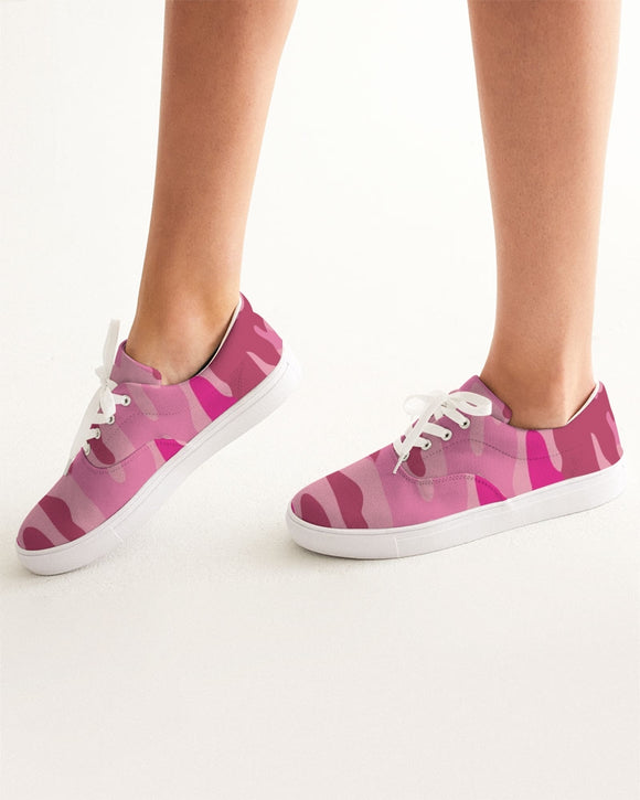 Pink  3 Color Camouflage Women's Lace Up Canvas Shoe DromedarShop.com Online Boutique