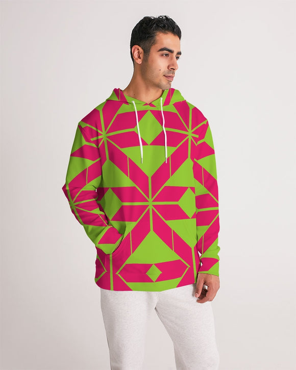 Aztec-Inka Collection Aztec Pink-Green pattern Men's Hoodie DromedarShop.com Online Boutique