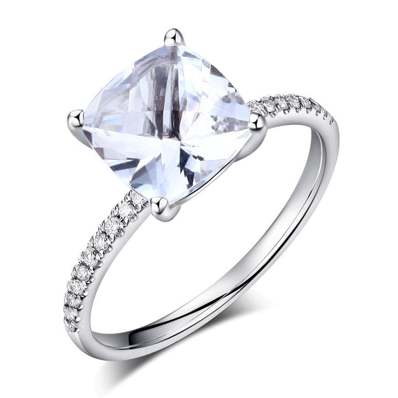 14K White Gold Wedding Engagement Ring 2.5 Ct Topaz 0.12 Ct Natural Diamond