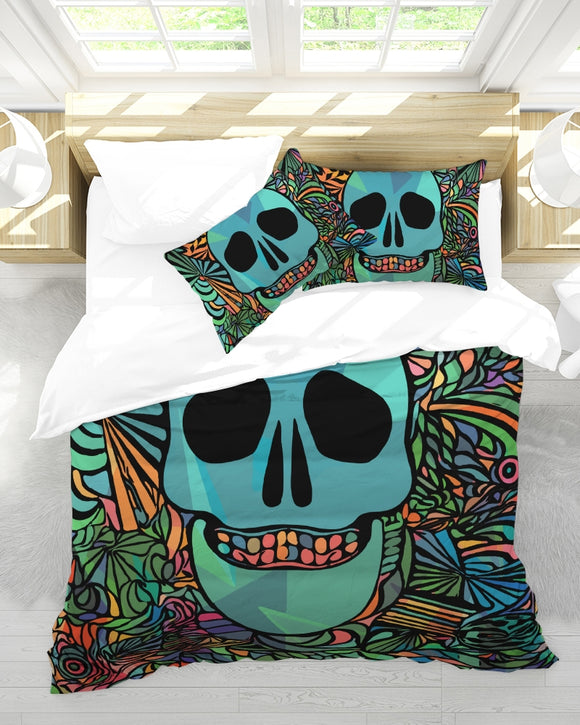 Aztec-Inka Collection Mexican Colorful Skull Queen Duvet Cover Set DromedarShop.com Online Boutique