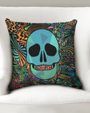 "Aztec-Inka Collection Mexican Colorful Skull Throw Pillow Case 18""x18"" DromedarShop.com Online Boutique"