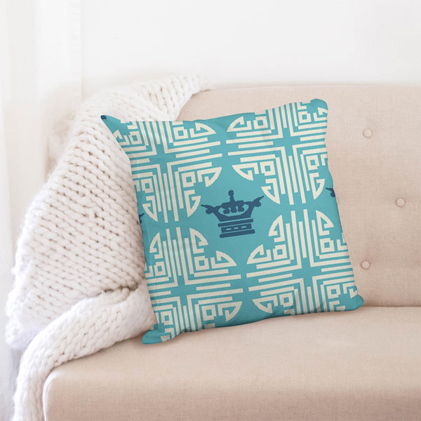 Chinese Print Blue Throw Pillow Case 20