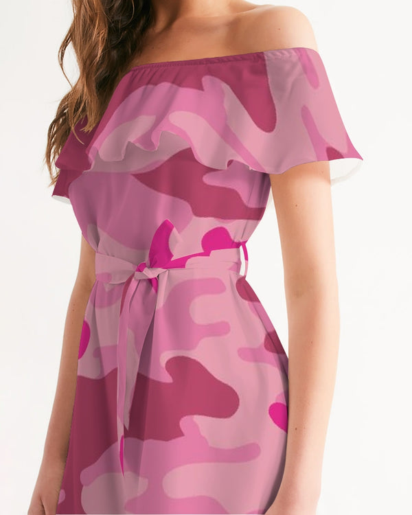 Pink  3 Color Camouflage Women's Off-Shoulder Dress DromedarShop.com Online Boutique