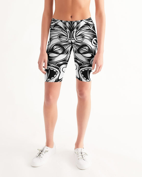 Maori Mask Collection Women's Mid-Rise Bike Shorts DromedarShop.com Online Boutique