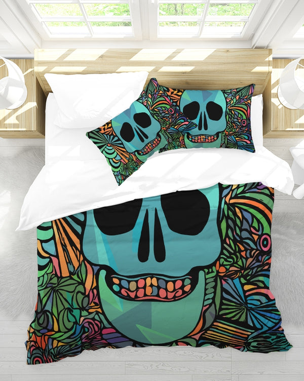 Aztec-Inka Collection Mexican Colorful Skull King Duvet Cover Set DromedarShop.com Online Boutique