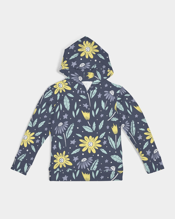 flower pattern yellow blue Kids Hoodie DromedarShop.com Online Boutique