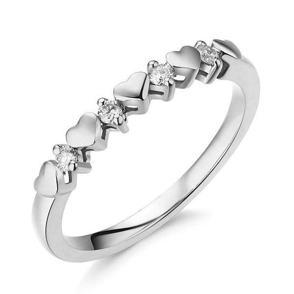 Women Heart 14K White Gold Bridal Wedding Band Ring 0.11 Ct Natural Diamonds