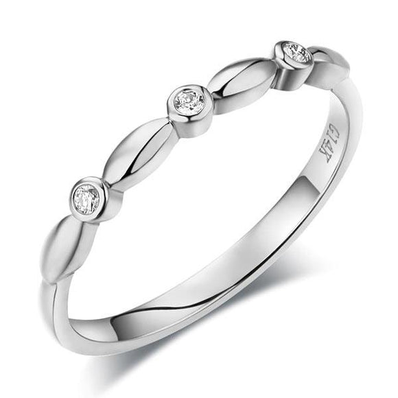 14K Solid White Gold Wedding Band Stackable Ring 0.03 Ct Diamond