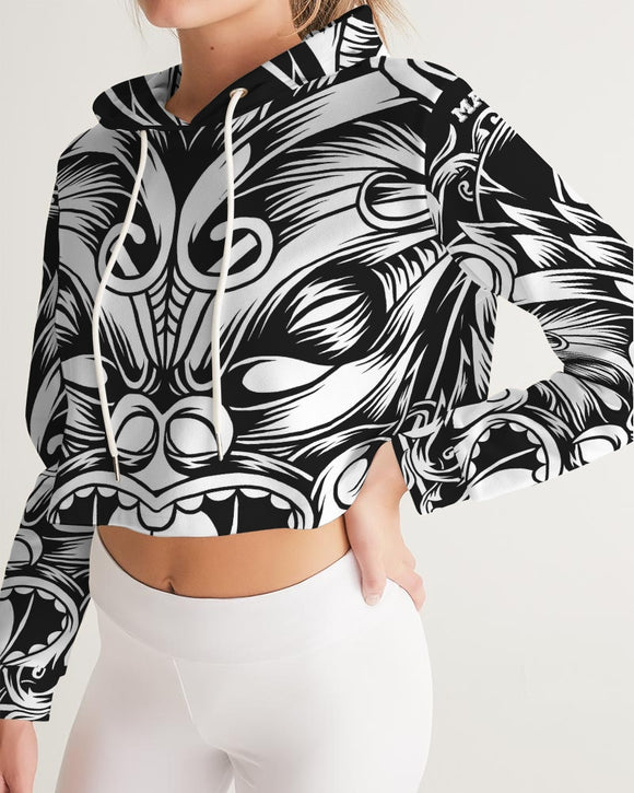 Maori Mask Collection Women's Cropped Hoodie DromedarShop.com Online Boutique