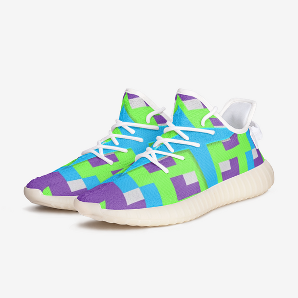 Aztec Blue Purple Green Unisex Lightweight Sneaker YZ Boost DromedarShop.com Online Boutique