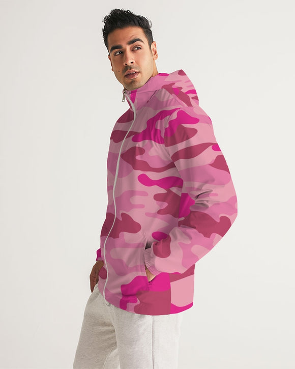 Pink 3 Color Camouflage Men's Windbreaker DromedarShop.com Online Boutique