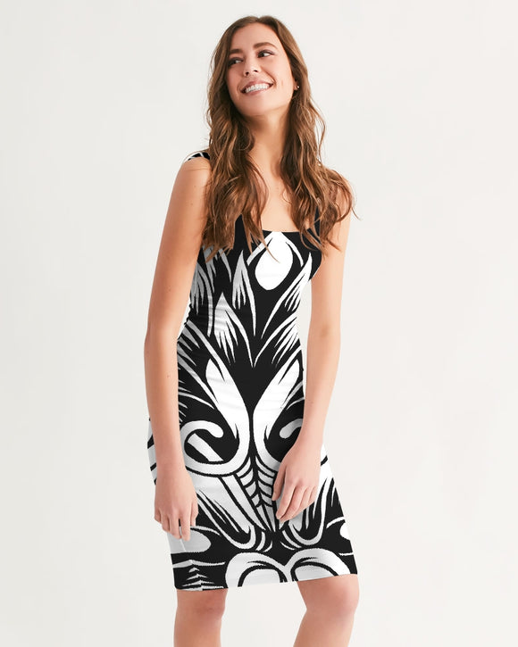 Maori Mask Collection Women's Midi Bodycon Dress DromedarShop.com Online Boutique