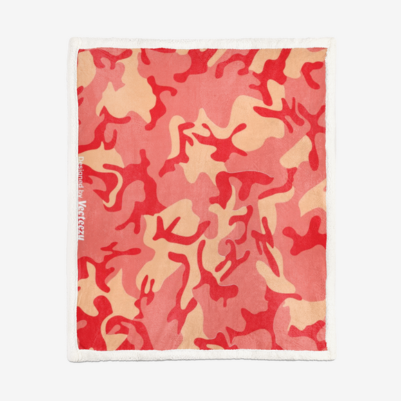 Red Coral Camouflage Double-Sided Super Soft Plush Blanket DromedarShop.com Online Boutique