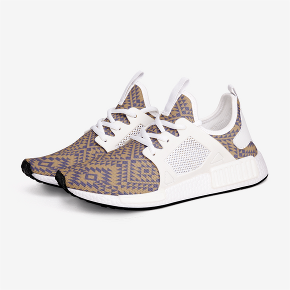 Aztec Gold and Blue pattern Unisex Lightweight Sneaker DromedarShop.com Online Boutique