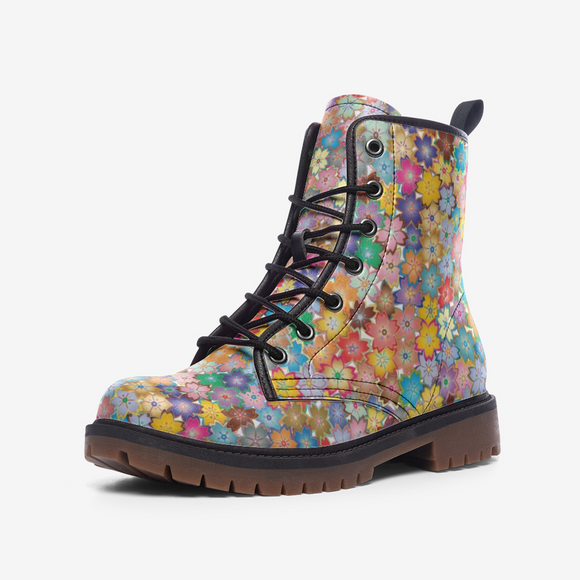 Spring Flowers Casual Leather Lightweight Unisex Boots DromedarShop.com Online Boutique