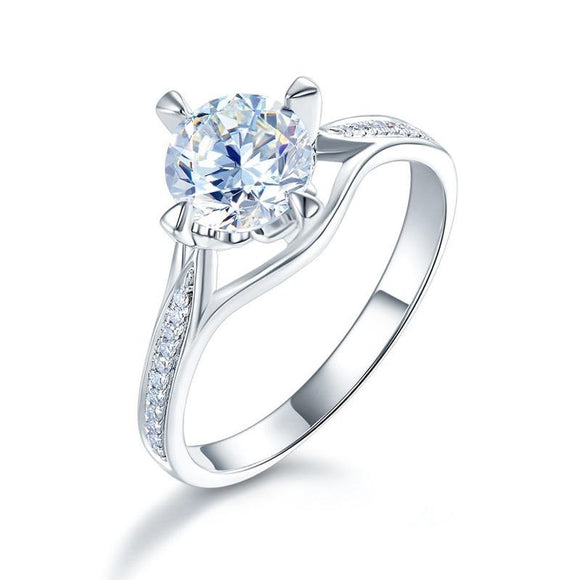 14K White Gold 1 Carat Forever One Moissanite Diamond Wedding Engagement Ring