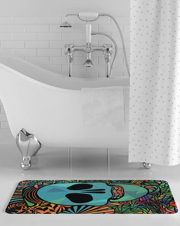 Aztec-Inka Collection Mexican Colorful Skull Bath Mat DromedarShop.com Online Boutique