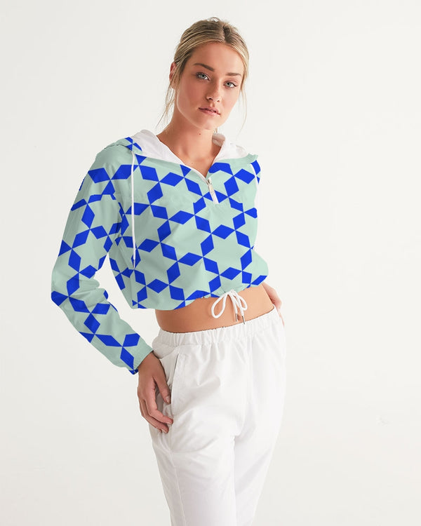 The Miracle of the East  Blue Arabic-pattern Women's Cropped Windbreaker DromedarShop.com Online Boutique