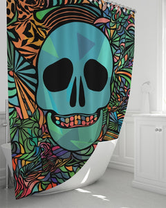 "Aztec-Inka Collection Mexican Colorful Skull Shower Curtain 72""x72"" DromedarShop.com Online Boutique"