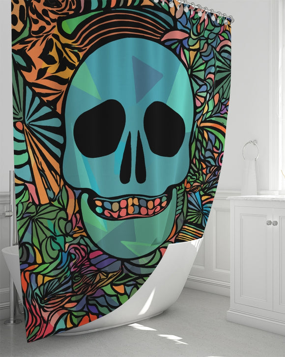 Aztec-Inka Collection Mexican Colorful Skull Shower Curtain 72
