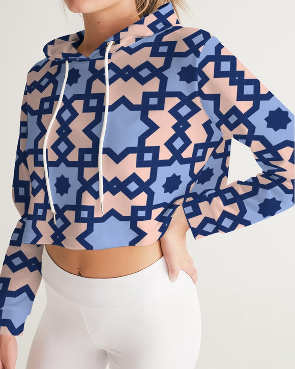 The Square Arabic pattern Women's Cropped Hoodie DromedarShop.com Online Boutique
