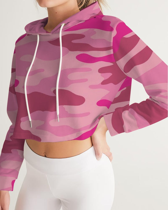 Pink  3 Color Camouflage Women's Cropped Hoodie DromedarShop.com Online Boutique
