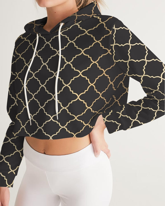 The Miracle of the East Gold Black Arabic pattern  Women's Cropped Hoodie DromedarShop.com Online Boutique