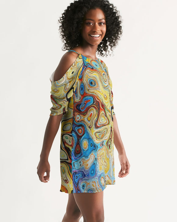 You Like Colors Women's Open Shoulder A-Line Dress DromedarShop.com Online Boutique