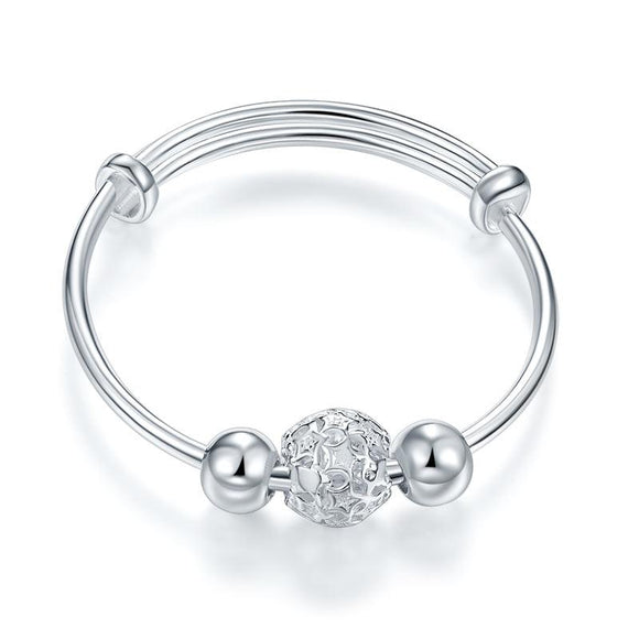 Newborn Baby 999 Pure Silver Flower Ball Baby Bangle XFB8058 - DromedarShop.com Online Boutique