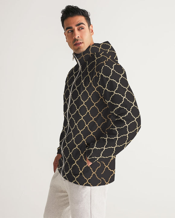 The Miracle of the East Gold Black Arabic pattern  Men's Windbreaker DromedarShop.com Online Boutique