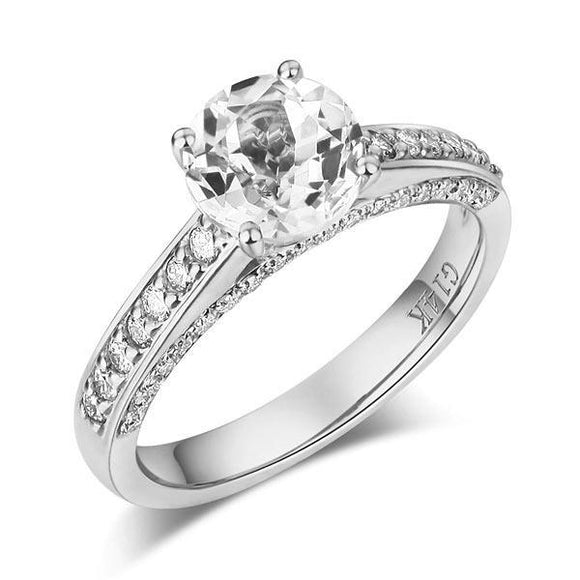 14K White Gold Wedding Engagement Ring 1.2 Ct Topaz 0.42 Ct Natural Diamonds