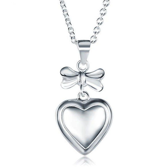 Ribbon Heart Pendant Necklace 925 Sterling Silver Children Jewelry